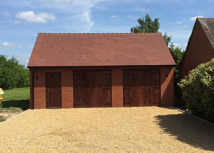 New red brick garage